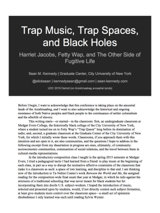 Trap Music, Trap Spaces, and Black Holes (UDC 2016) (dragged)